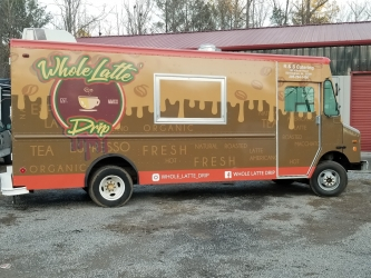 passenger's side view Brown colored coffee food truck wrap from sign source