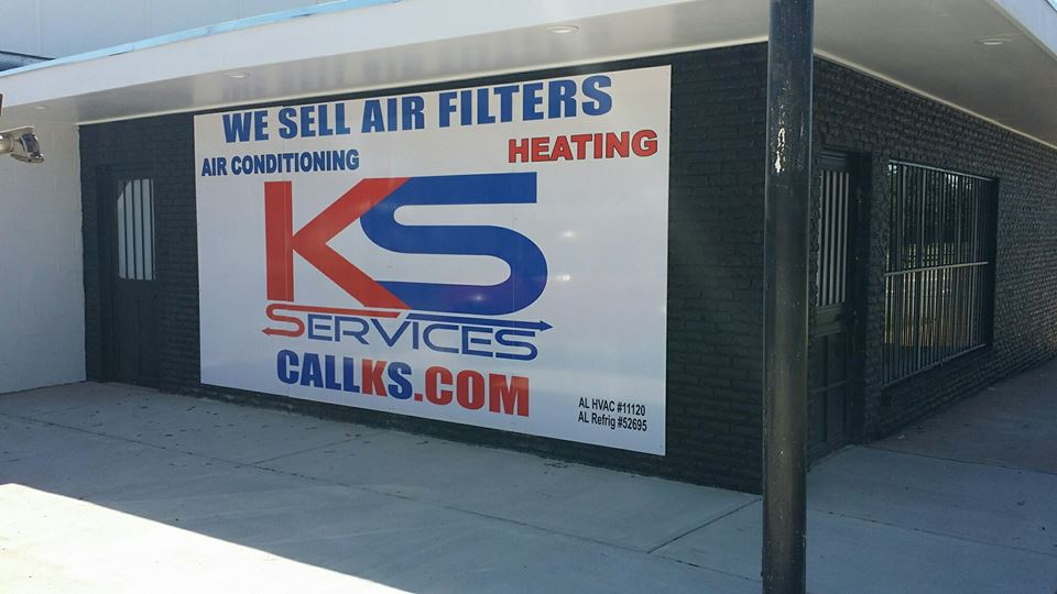 KS services red and white banner for business