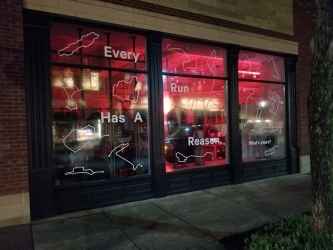 Wall graphics for red lighted restaurant